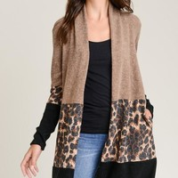 Contrasting Knit Cardigan with Pockets - Mocha