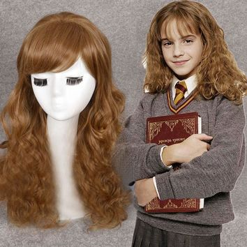 Movie Hermione Jean Granger Cosplay Wig Brown Wavy Role Play Costumes Synthetic Hair Heat Resistance Fiber+Free Wig Cap