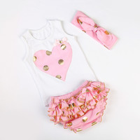Kids Gold dot heart rompers set cute newborn baby cotton ruffle romper girls summer style clothing set