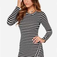 Lydia Deetz Black and Ivory Striped Long Sleeve Dress