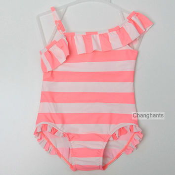 baby girl swimwear one piece orange & white striped 2-7Y girls swimsuit kids children swimwear with lace wrinkle sw0614