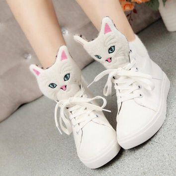 Autumn Cartoon cat head flat with women ankle boots casual lace up ladies shoes woman winter boots white black WSH230