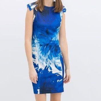 Ink Blue Floral Print Cap-Sleeve Dress