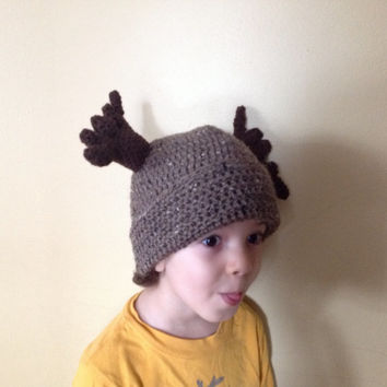 Handmade Crochet Moose Hat in light brownish color beanie hat with Brown Antlers, Halloween for men, women, kids, or babies all sizes