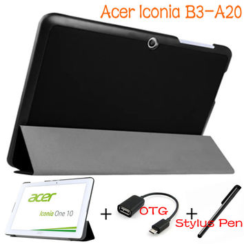 Stand Folding Case Cover Flip Leather for Acer Iconia One 10 B3-A20 B3 A20 10.1'' Tablet+OTG+Pen Tempered Glass Screen Protector