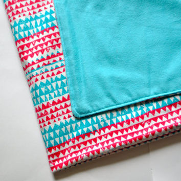 Tribal print Nursing blanket, Baby blanket, stroller blanket, nursing cover, toddler blanket, flannel blanket, pink and teal baby blanket.