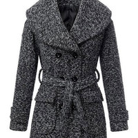 Gray Long-Sleeved Lapel Belted Wool Coat