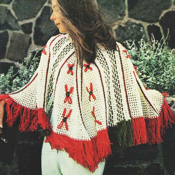 Christmas Poncho Vintage holidays pattern PDF Instant Download Vintage Crochet shawl Afghan shawl wrap Crochet Pattern Instant Download pdf