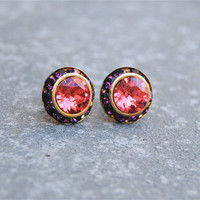 Watermelon, Amethyst Earrings - Sugar Sparklers Small - Swarovski Crystal Watermelon Pink, Amethyst Rhinestone Stud Earrings