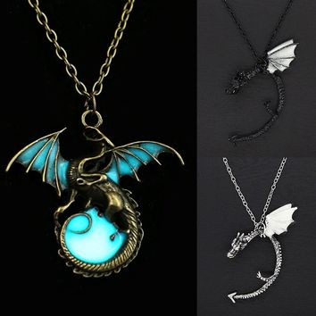 Ancient Glowing Dragon Pendent Glow in the Dark Necklace Vintage Dragon Necklace Punk Jewelry