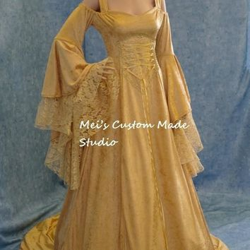 Custom Made Renaissance Medieval Gold Fantasy Wedding Gown Cosplay Costume