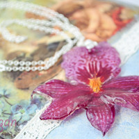 Real Orchid Necklace, Resin Necklace Handmade, Real Three-dimensional Orchid Embedded in resin, pressed flower jewelry, Women Resin Necklace
