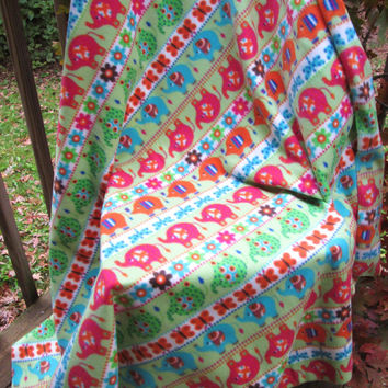 Bright Elephants Large Fleece Lap or Toddler Bed Blanket - Lap Blanket, Stadium Blanket. Throw - Green, Pink, Orange, Aqua
