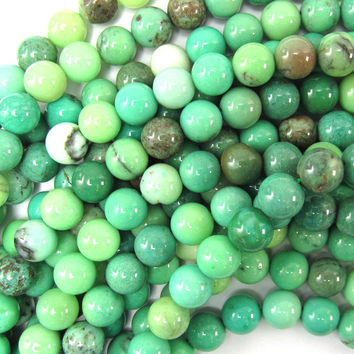 "6mm green chrysoprase round beads 15.5"" strand"