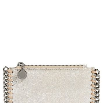 Stella McCartney Metallic Faux Chamois Card Case | Nordstrom
