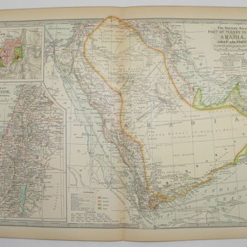 1901 Saudi Arabia Map, Oman Yemen Map Aden, Red Sea Persian Gulf Map, Palestine, History Buff Gift for New Home, Middle Eastern Decor