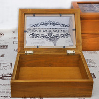 Vintage Weathered Small Size Glass Storage Box Wooden Decoration Accessory Box [6282982662]