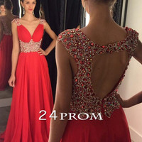 Red Chiffon Beaded Rhinestone Long Prom Dress, Evening Dresses