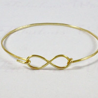 Infinity Bangle Bracelet, Gold Bangle, Infinity Love Jewelry, Infinity Friendship Bangle Bracelet