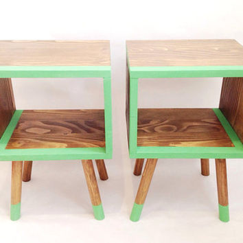 Mid Century Modern Tables, Retro Bedside Table, Retro Nightstand, Wooden Table, Green Table, Wooden Table, Painted Furniture