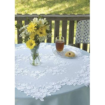 "42"" Round Tea Rose Lace Table Topper"