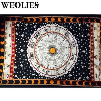 Hot Towel Yoga Mat Table Cloth Bedding Indian Tapestry Wall Hanging Horoscope Zodiac Astrology Beach Throw Home Decor 210X145cm