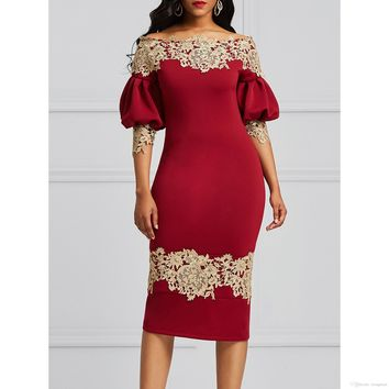 Sexy Mermaid Fashion autumn women off shoulder pencil Half Sleeve 2019 lantern autumn bodycon burgundy sexy work vintage dress elegant boho