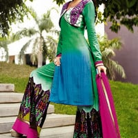 Green Blue and Rani Cotton Jacquard Palazzo Style Suit