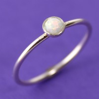 White Opal Stacking Ring - Spiffing Jewelry