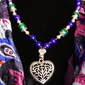 Silver Purple and Green necklace