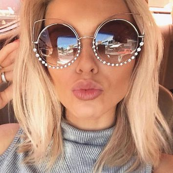 OUTEYE Diamond Cat Eye Sunglasses Women Round Mirror Sun Glasses Rhinestone Oversized Reflective Eyewear lunette de soleil femme
