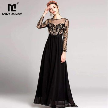 Women O Neck Long Sleeves Embroidery Tulle Laid Over Split Party Prom Maxi Runway Dresses