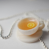 Cup of Tea Necklace, Miniature Food Jewelry, Polymer Clay Food Tea Party Necklace