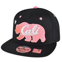 California Republic Cali Pink Bears Logo Solid Black Snapback Flat Bill Hat Cap
