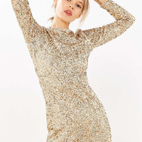 Kimchi Blue Firestarter Long-Sleeve Sequin Mini Dress - Urban Outfitters