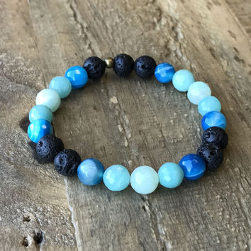 Communication' Throat Chakra Aromatherapy Lava Rock and Gemstones Diffuser Bracelet