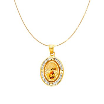 Baptism Medallion Necklace - 14K Solid Yellow Gold