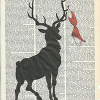 Book Print Big Buck with a Bra Hanging on Him,on Upcycle Vintage Book Print Art Print Dictionary Print Collage Print