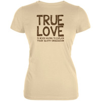 Valentines Day True Love Sloth Cream Juniors Soft T-Shirt