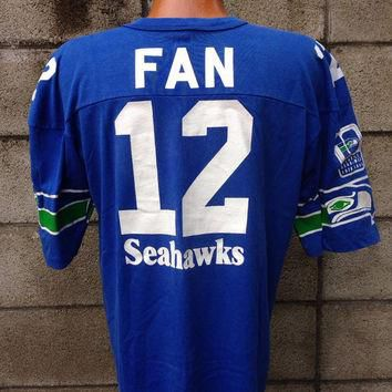 Seattle Seahawks Shirt Vintage Jersey 12th Man Fan 12 1980s NFL Tee Large