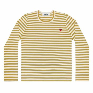 Comme de Garcon Play Small Red heart Stripe long t-shirts Yellow+white