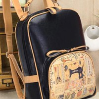 Vintage Style PU Backpack for Women