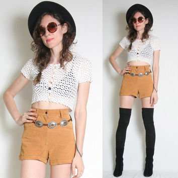 Vintage High Waisted Leather Shorts - Caramel Brown - Boho Bohemain - Biker - Suede Shorts - 70s 80s - Cosa Nova - Grunge