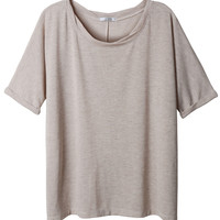 LE3NO Womens Loose Fit Dolman Short Sleeve Top with Split Back (CLEARANCE)
