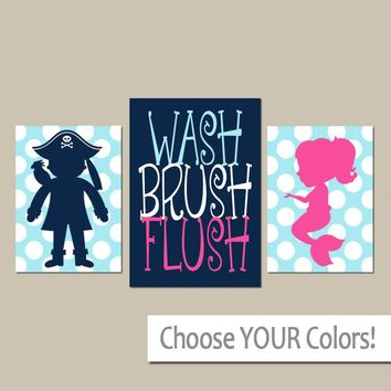 MERMAID PIRATE Wall Art, Boy Girl Brother Sister Bathroom Decor, Child WASH Brush Rules, Sea Ocean, Polka Dot Canvas or Prints  Set of 3