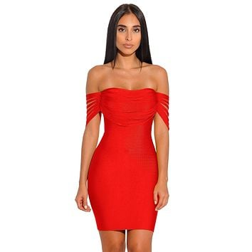 B| Chicloth Red Strappy Detail Off Shoulder Bandage Dress
