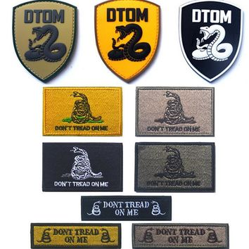 Dont Tread on Me DTOM Tactical patch hook back morale militare patches biker MC combat custom army for jacket vest