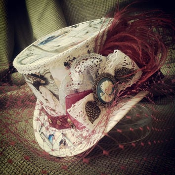 "Steampunk hat 4"" Burlesque, Rockabilly, Retro, Vintage, Lolita, Tea Party, Mad Hatter, Alice in Wonderland, Victorian, Alternative, Gothic"