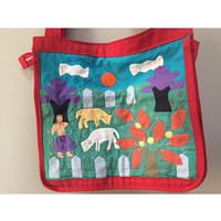 Ethnic Patchwork Bag, Handmade Red Tote Bag, Central American Boho Purse, Patch Animals Handsewn Purse, Farm Scene Bag, Farmers Market Tote