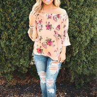 Pretty Peach Off Shoulder Top